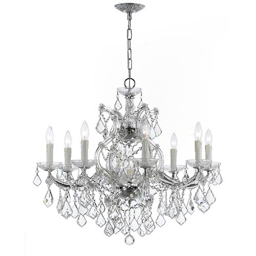Crystorama Lighting Group Maria Theresa Polished Chrome Nine-Light Chandelier with Clear Hand Cut Crystal