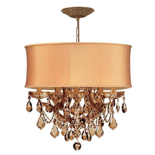Crystorama Lighting Group Brentwood Antique Brass Maria Theresa Chandelier with Golden Teak Swarovski Strass Crystal and