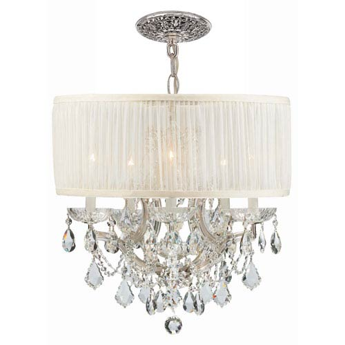 Brentwood Polished Chrome Maria Theresa Chandelier with Clear Swarovski Strass Crystal and with Antique White Shade.