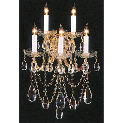 Maria Theresa Gold Five-Light Crystal Sconce