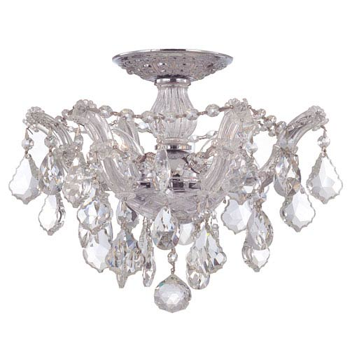 Crystorama Lighting Group Maria Theresa Polished Chrome Three-Light Semi Flush Mount with Hand Polished Crystals