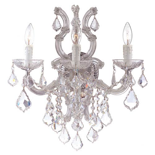 Crystorama Lighting Group Maria Theresa Polished Chrome Three-Light Wall Sconce with Swarovski Spectra Crystals