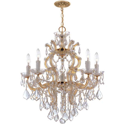 Crystorama Lighting Group Maria Theresa Polished Gold Five-Light Chandelier with Hand Polished Crystals