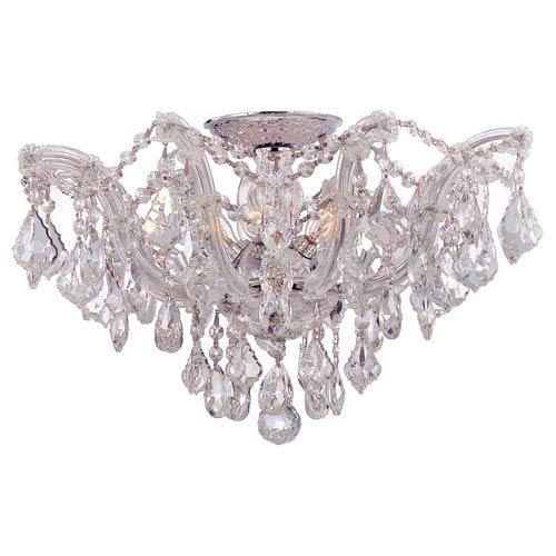 Maria Theresa Polished Chrome Five-Light Semi Flush Mount with Swarovski Strass Crystals