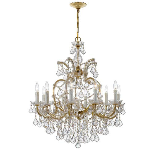 Crystorama Lighting Group Maria Theresa Gold 34-Inch 11-Light Chandelier Clear Crystal