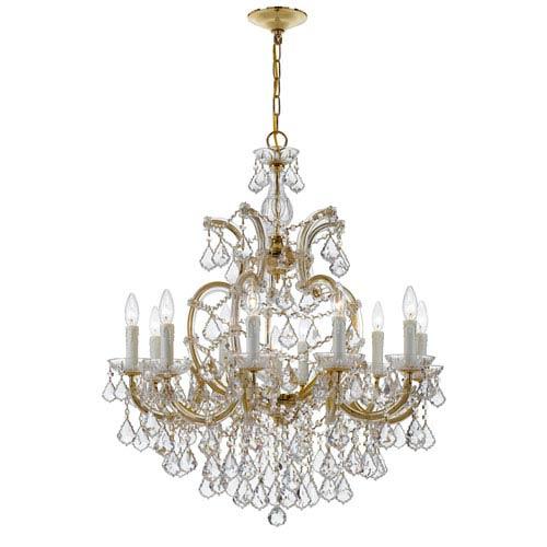 Crystorama Lighting Group Maria Theresa Gold 29-Inch 11-Light Swarovski Strass Chandelier