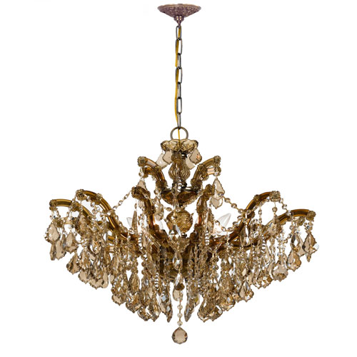 Crystorama Lighting Group Maria Theresa Antique Brass 20-Inch Six Light Chandelier with Golden Teak Crystal
