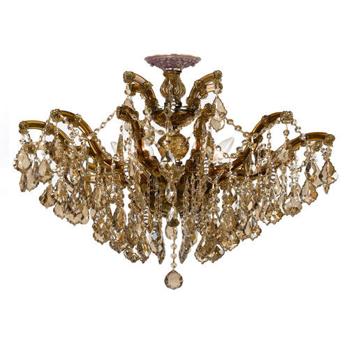 Crystorama Lighting Group Maria Theresa Antique Brass 20-Inch Six Light Semi Flush Mount with Golden Teak Crystal
