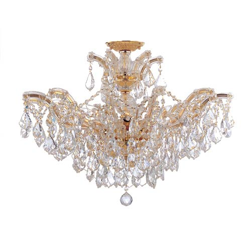Crystorama Lighting Group Maria Theresa Gold 20-Inch 12-Light Semi Flush Mount with Clear Crystal