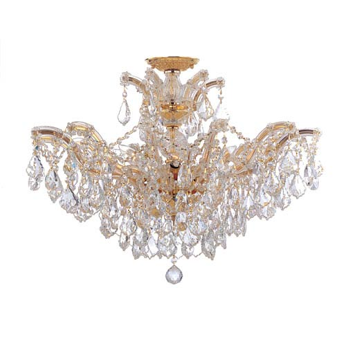 Crystorama Lighting Group Maria Theresa Gold 27-Inch 12-Light Semi Flush Mount with Elements Crystal