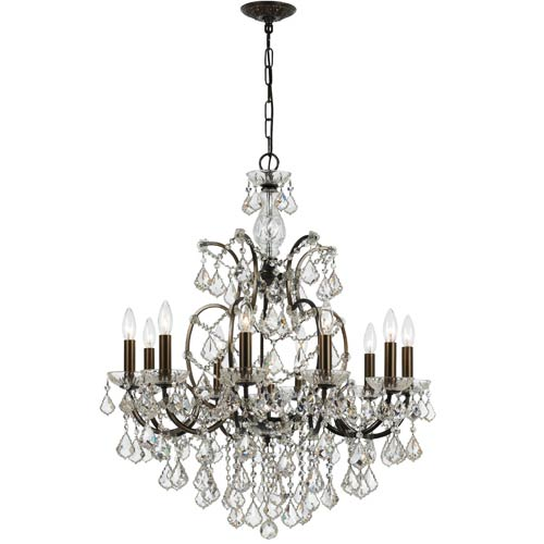 Filmore Vibrant Bronze 10-Light Chandelier with Clear Crystal