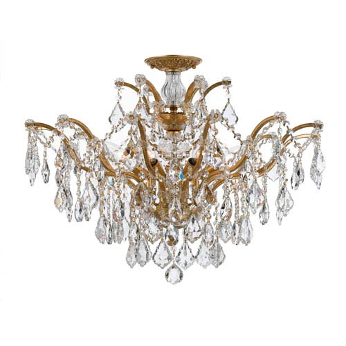 Filmore Antique Gold Six Light Swarovski Spectra Semi Flush Mount