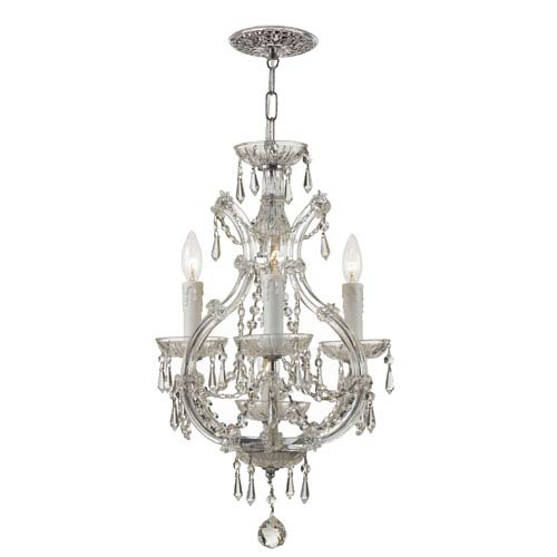 Maria Theresa Chrome Three-Light Dual Mount Mini Chandelier with Italian Crystal