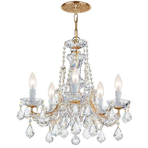 Crystorama Lighting Group Maria Theresa Gold Five-Light Chandelier with Swarovski Spectra Crystal