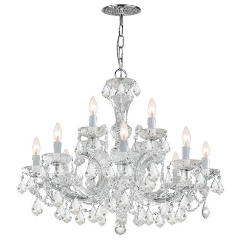 Maria Theresa Polished Chrome Eight-Light Chandelier with Swarovski Spectra Crystal