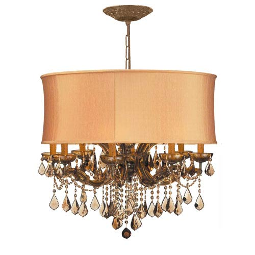 Crystorama Lighting Group Brentwood Chandelier with Golden Teak Strass Crystal with a Harvest Gold Silk Shade
