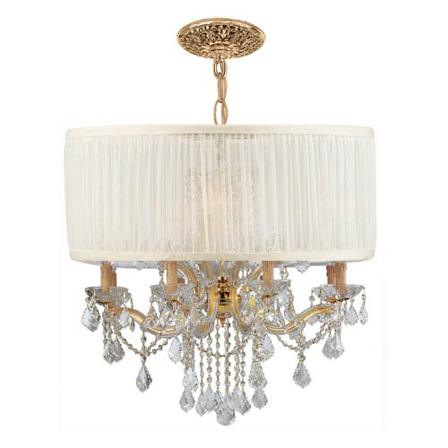 Crystorama Lighting Group Brentwood Gold Twelve-Light Pendant Draped In Clear Hand Cut Crystal