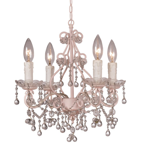 Paris Flea Four-Light Blush Mini Chandelier with Clear Murano Crystal