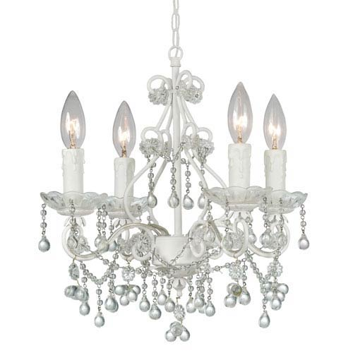 White mini chandeliers free shipping bellacor paris flea market wet white four light chandelier with murano crystal aloadofball Images