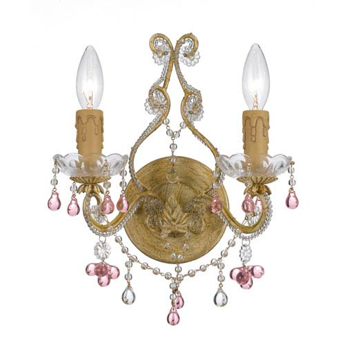 Crystorama Lighting Group Paris Market Champagne Two-Light Rose Crystal Sconce