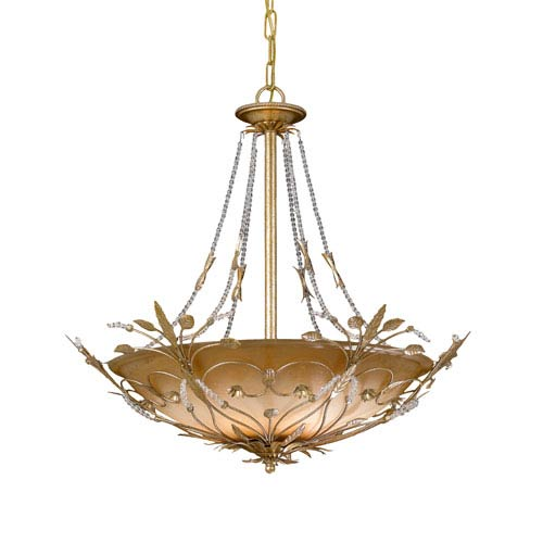 Crystorama Lighting Group Victoria Gold Leaf Bowl Pendant