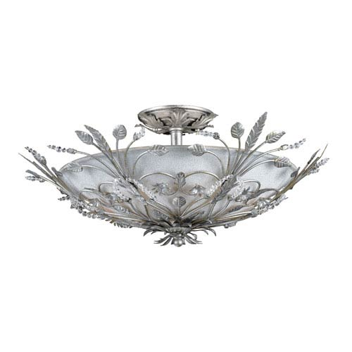 Victoria Small Silver Leaf Semi-Flush Ceiling Light
