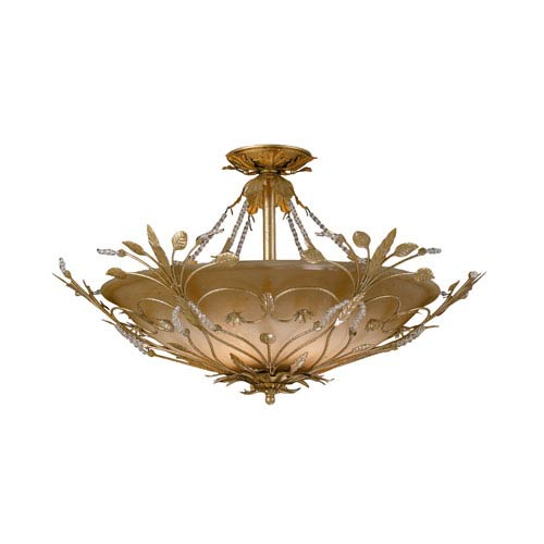 Victoria Medium Gold Leaf Semi-Flush Ceiling Light