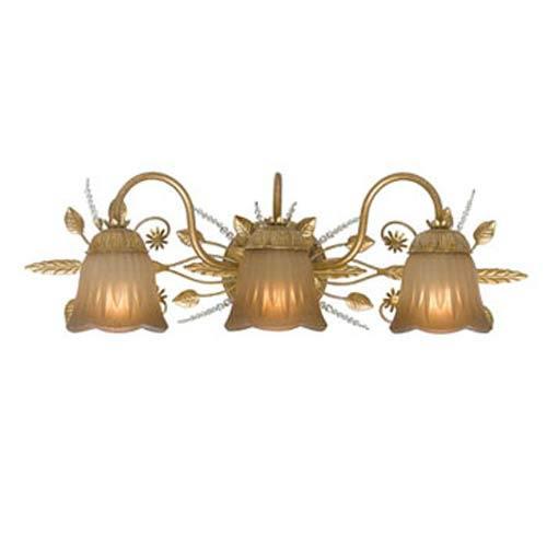 Crystorama Lighting Group Primrose Gold Leaf Swarovski Spectra Three Light Bathroom