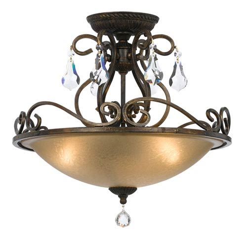 Crystorama Lighting Group Ashton English Bronze Three Light Semi-Flush Mount with Hand Cut Crystal