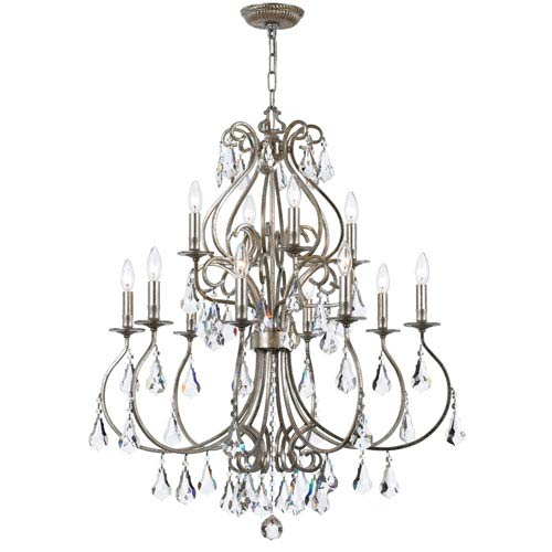 Crystorama Lighting Group Ashton Olde Silver 12-Light Chandelier with Hand Cut Crystal