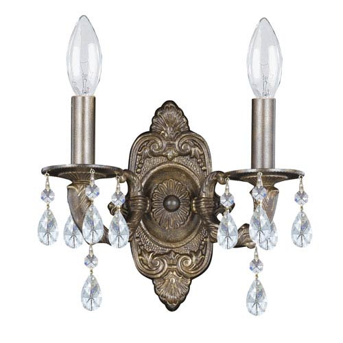 Crystorama Lighting Group Hampton Venetian Bronze Ornate Two-Light Wall Sconce Draped with Clear Hand Cut Crystal