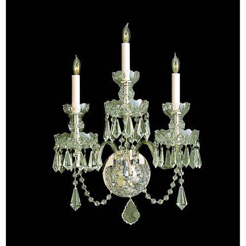 Crystorama Lighting Group Traditional Crystal Polished Brass Three-Light Sconces