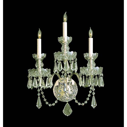 Crystorama Lighting Group Traditional Crystal Polished Brass Three Light Sconce