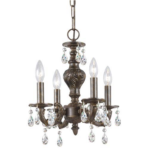 Hampton Venetian Bronze Ornate Mini Chandelier Draped with Clear Hand Cut Crystal