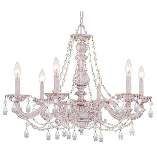 Crystorama Lighting Group Sutton Antique White 21-Inch Six Light Swarovski Spectra Crystal Chandelier