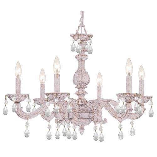 Antique white chandeliers bellacor crystorama lighting group sutton antique white six light chandelier with hand polished crystal aloadofball Images
