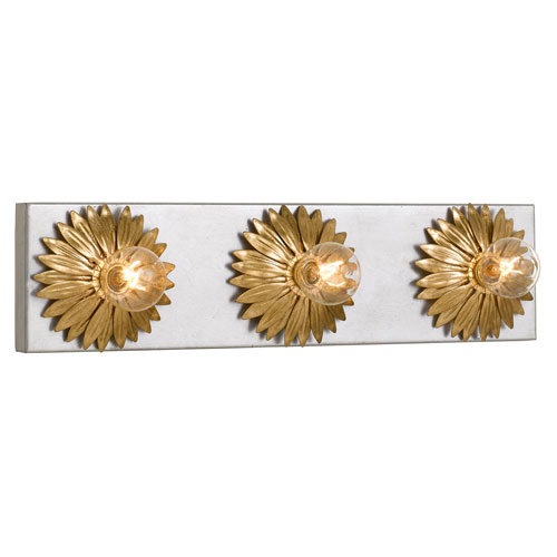 Broche Three-Light Antique Gold and Antique Silver Bath Light
