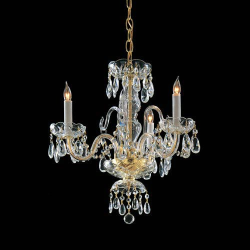 Traditional Crystal Swarovski Spectra Crystal Polished Brass Three-Light Chandelier