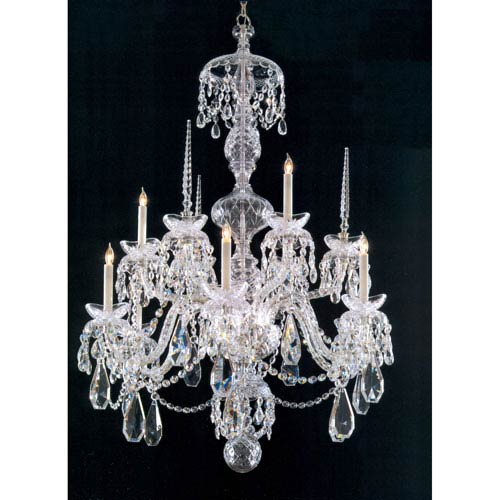 Traditional Crystal Chrome Nine-Light Chandelier