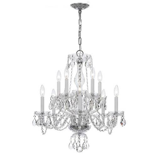 Crystorama Lighting Group Traditional Crystal Chrome Ten-Light Spectra Crystal Chandelier