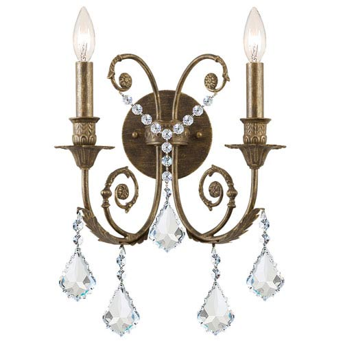 English Bronze Crystal Two-Light Wall Sconce