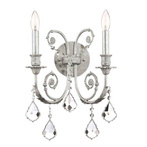 Regis Olde Silver Two-Light Wall Sconce with Hand Polished Crystal