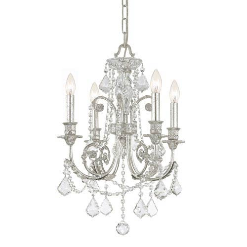 Regis Olde Silver Four-Light Chandelier with Hand Polished Crystal