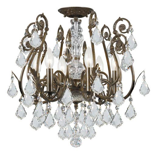 Crystorama Lighting Group Regis Clear Swarovski Spectra Crystal Wrought Iron Semi-Flush