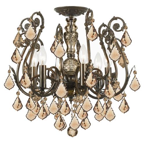 Crystorama Lighting Group Regis Golden Teak Swarovski Strass Crystal Wrought Iron Semi-Flush