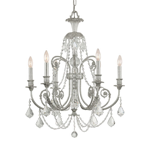 Crystorama Lighting Group Regis Olde Silver Six Light Chandelier with Clear Italian Crystal