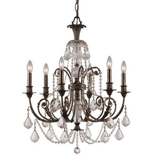 Crystorama Lighting Group English Bronze Crystal Six-Light Chandelier