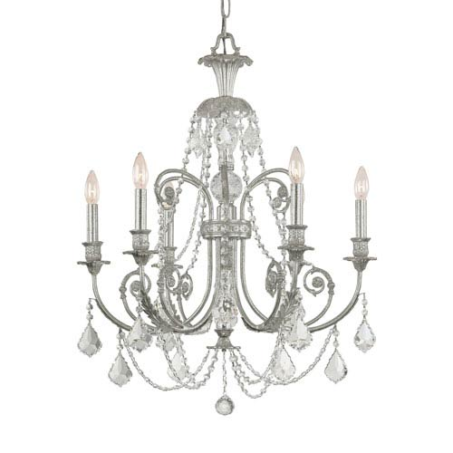 Regis Olde Silver Six-Light Chandelier with Hand Polished Crystal