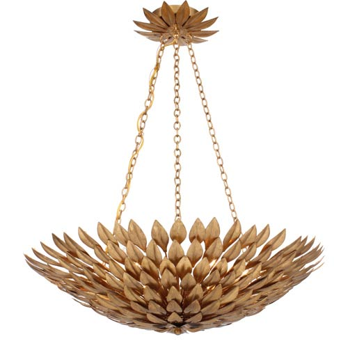 Crystorama Lighting Group Broche Antique Gold Six-Light Gold Leaf Pendant Chandelier