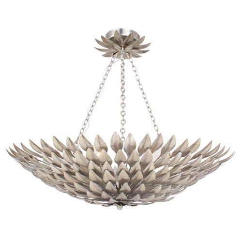 Crystorama Lighting Group Broche Antique Silver 16-Inch Six-Light Semi Flush Mount